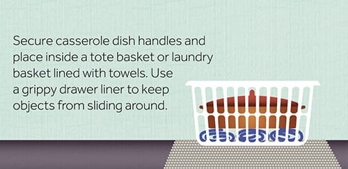 How to secure a casserole dish